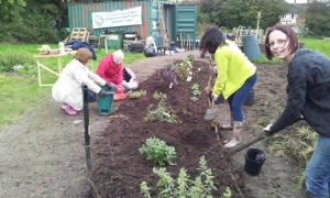 Volunteers with a sense of achievement at Barry community garden and allotment